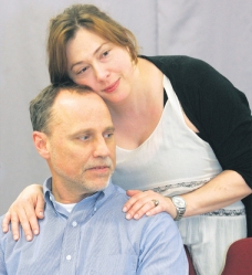 Samantha Gauthier, of GR, as mom and Craig Hammerlind, of GR, rehearse scene. Photo by Brian Forde