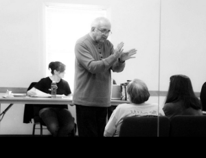 "Director Fred Sebulske gives feedback as the cast and crew rehearse a scene for the upcoming Actors' Theatre production of ""Looking for Normal"", which opens May 23, 2013. Photo Credit: Dave Kagan, Sensitography"